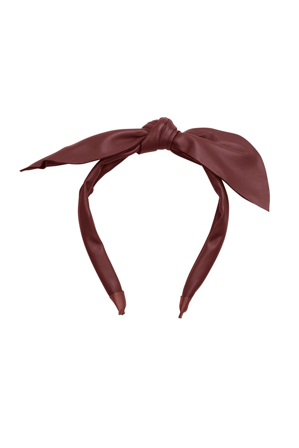 Perfect Leather Pointy Bow Headband - Burgundy - PROJECT 6, modest fashion