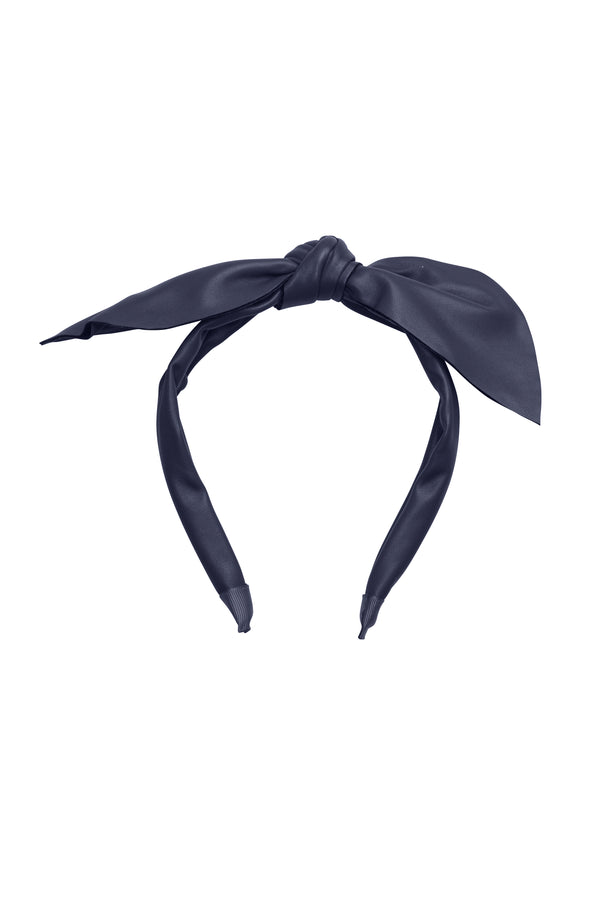 Perfect Leather Pointy Bow Headband - Navy - PROJECT 6, modest fashion