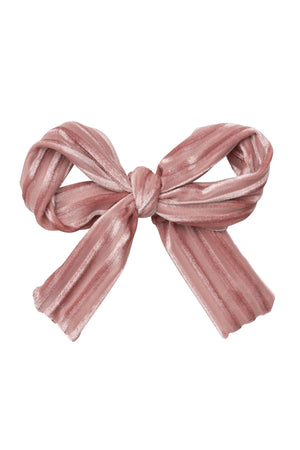 Party Bow Clip - Blush Velvet Stripe - PROJECT 6, modest fashion