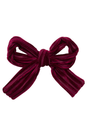 Party Bow Clip - Burgundy Velvet Stripe - PROJECT 6, modest fashion