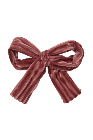 Party Bow Clip - Rose Velvet Stripe - PROJECT 6, modest fashion