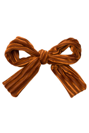 Party Bow Clip - Rust Velvet Stripe - PROJECT 6, modest fashion
