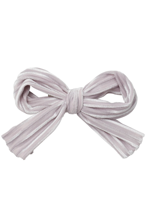 Party Bow Clip - Silver Velvet Stripe - PROJECT 6, modest fashion