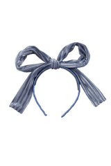 Party Bow Headband - Blue Velvet Stripe - PROJECT 6, modest fashion