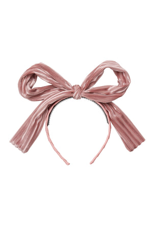 Party Bow Headband - Blush Velvet Stripe - PROJECT 6, modest fashion