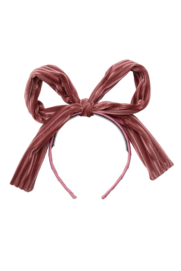 Party Bow Headband - Rose Velvet Stripe - PROJECT 6, modest fashion