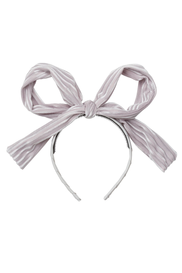 Party Bow Headband - Silver Velvet Stripe - PROJECT 6, modest fashion
