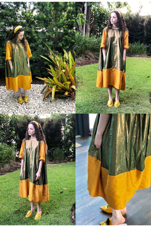 Nikki Dress - Green Shine/Gold Tussel Silk