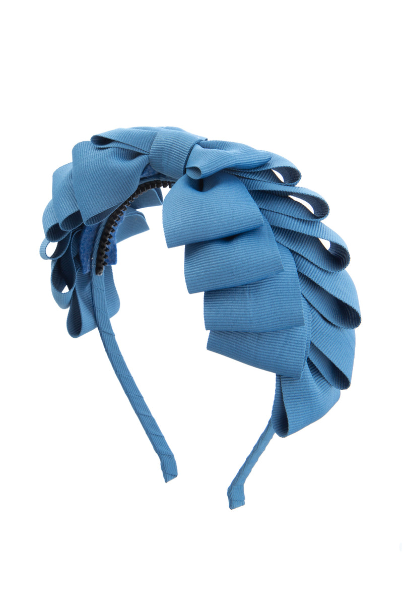 Pleated Ribbon Grosgrain Headband - Smoke Blue - PROJECT 6, modest fashion