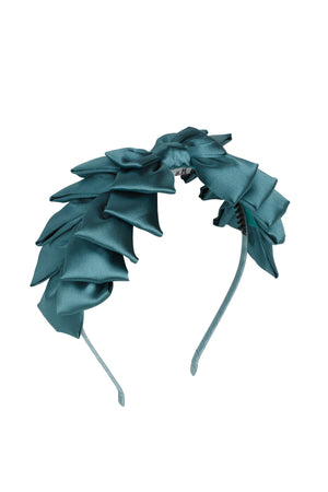 Pleated Ribbon Headband - Teal