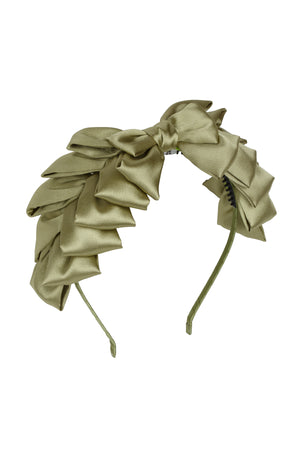 Pleated Ribbon Headband - Antique Green