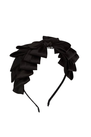 Pleated Ribbon Headband - Black