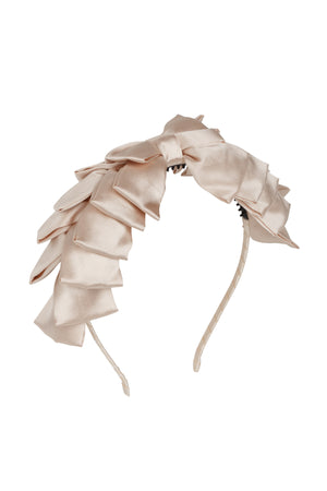 Pleated Ribbon Headband - Champagne