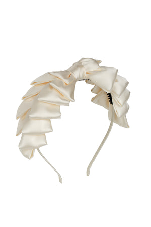 Pleated Ribbon Headband - Dove Ivory