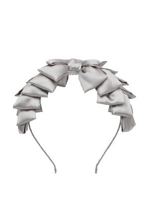 Pleated Ribbon Headband - Silver Grey