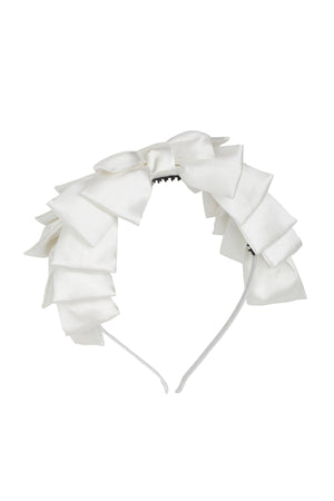 Pleated Ribbon Headband - White