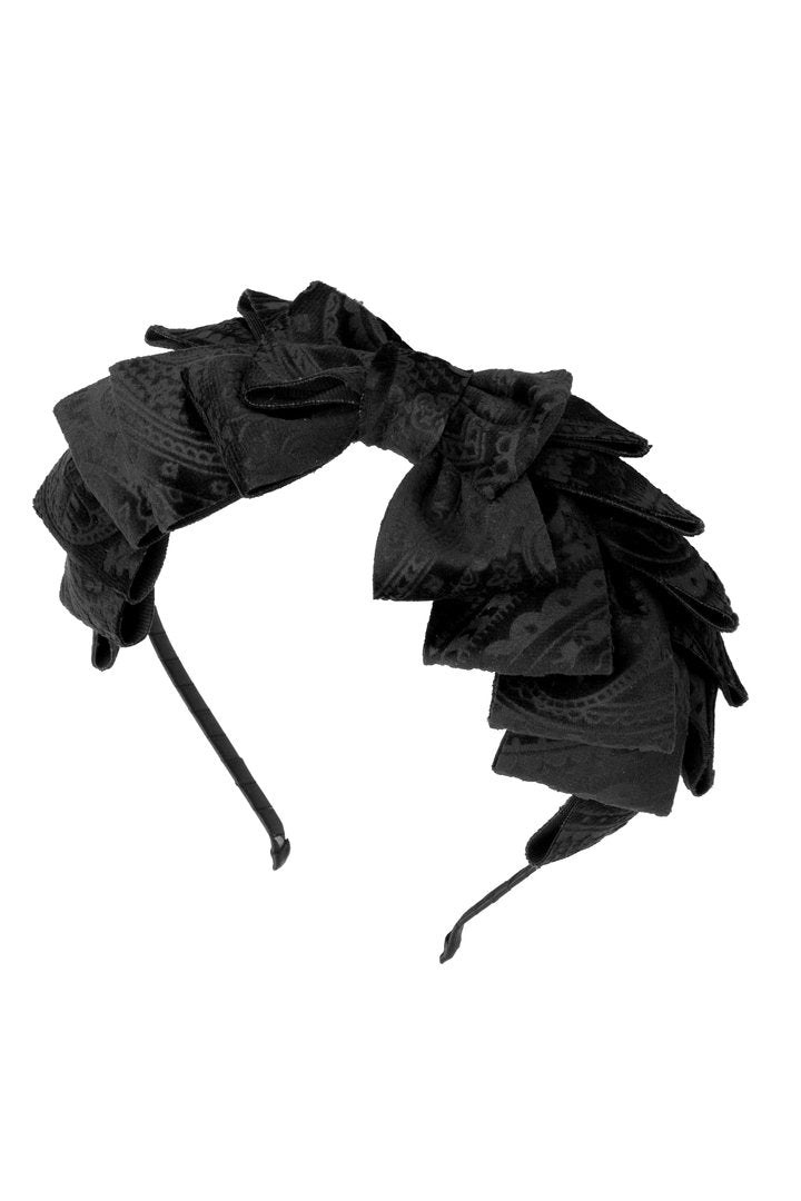 Pleated Ribbon Headband - Black Paisley Suede - PROJECT 6, modest fashion