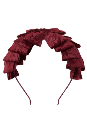 Pleated Ribbon Headband - Burgundy Paisley Suede