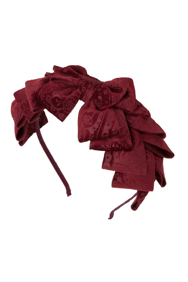 Pleated Ribbon Headband - Burgundy Paisley Suede - PROJECT 6, modest fashion