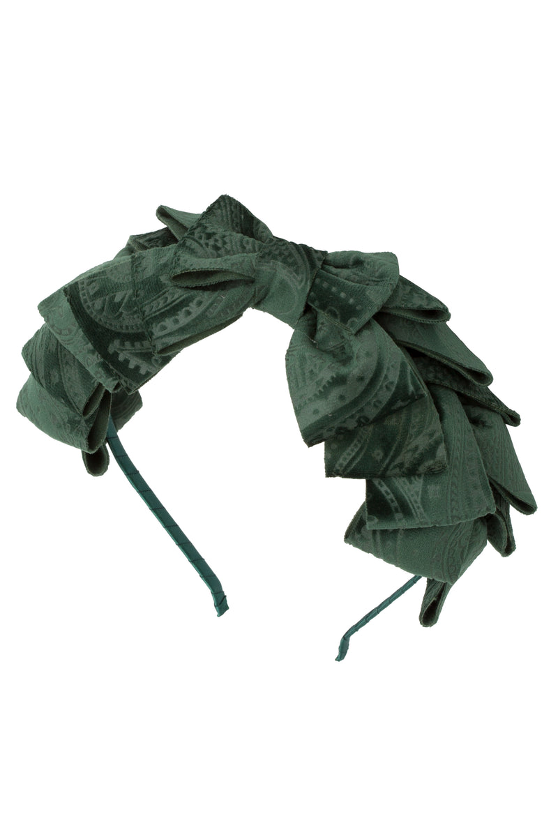 Pleated Ribbon Headband - Hunter Green Paisley Suede - PROJECT 6, modest fashion