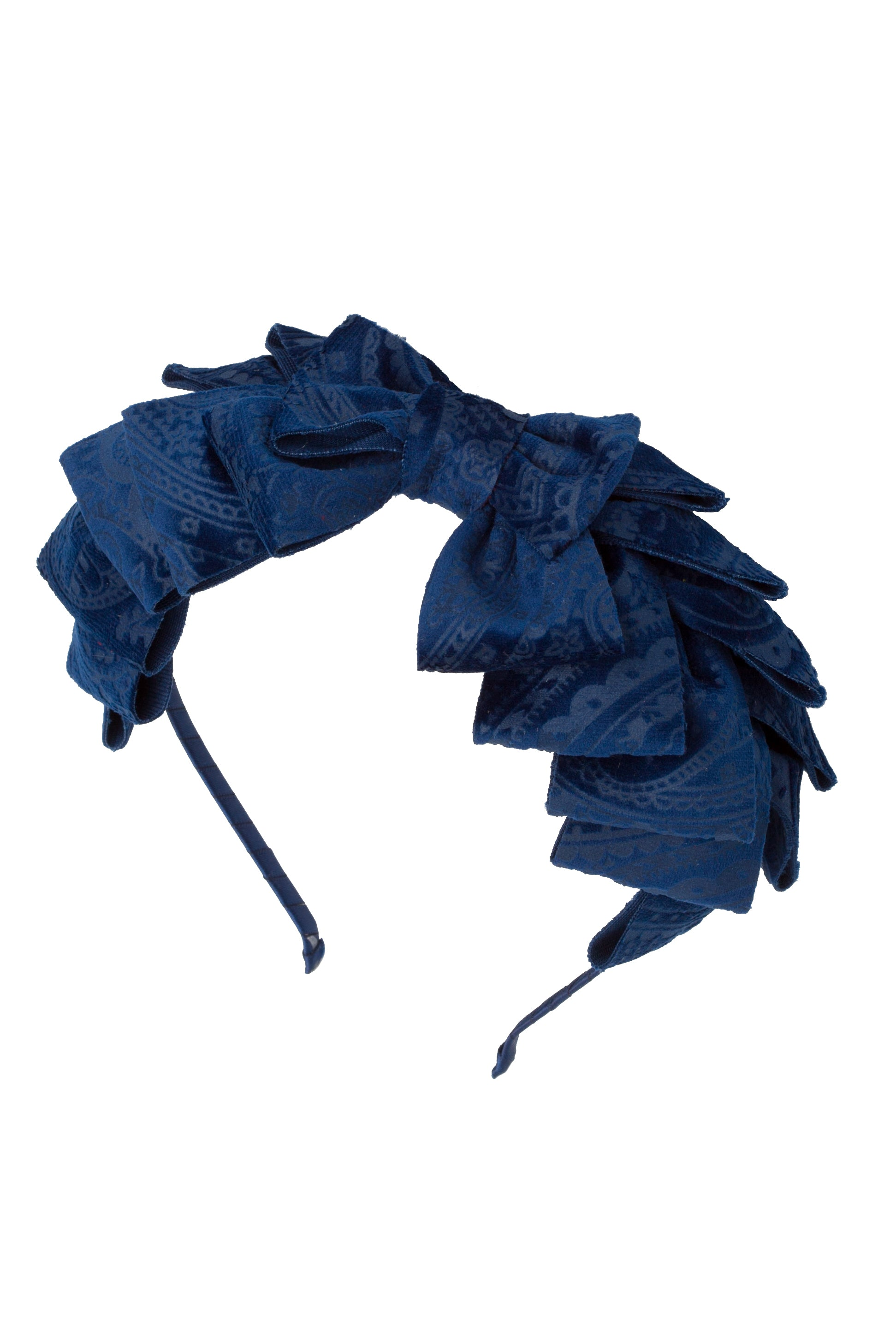 Pleated Ribbon Headband - Navy Paisley Suede - PROJECT 6, modest fashion