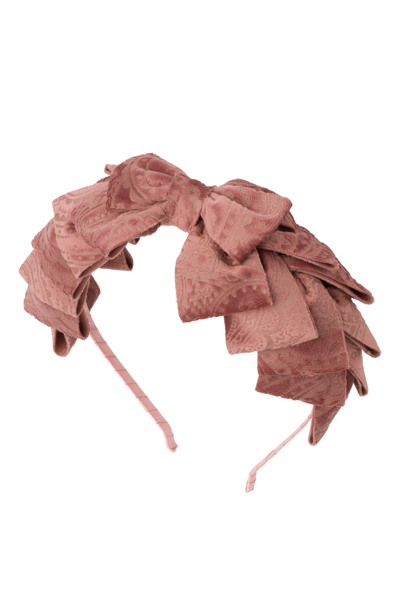 Pleated Ribbon Headband - Rose Paisley Suede - PROJECT 6, modest fashion