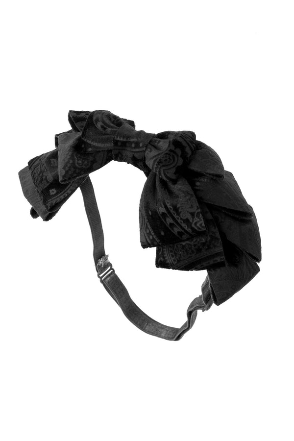Pleated Ribbon Wrap - Black Paisley Suede - PROJECT 6, modest fashion