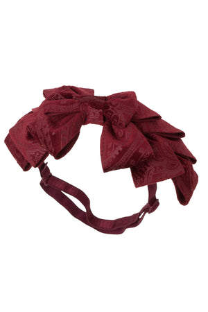 Pleated Ribbon Wrap - Burgundy Paisley Suede