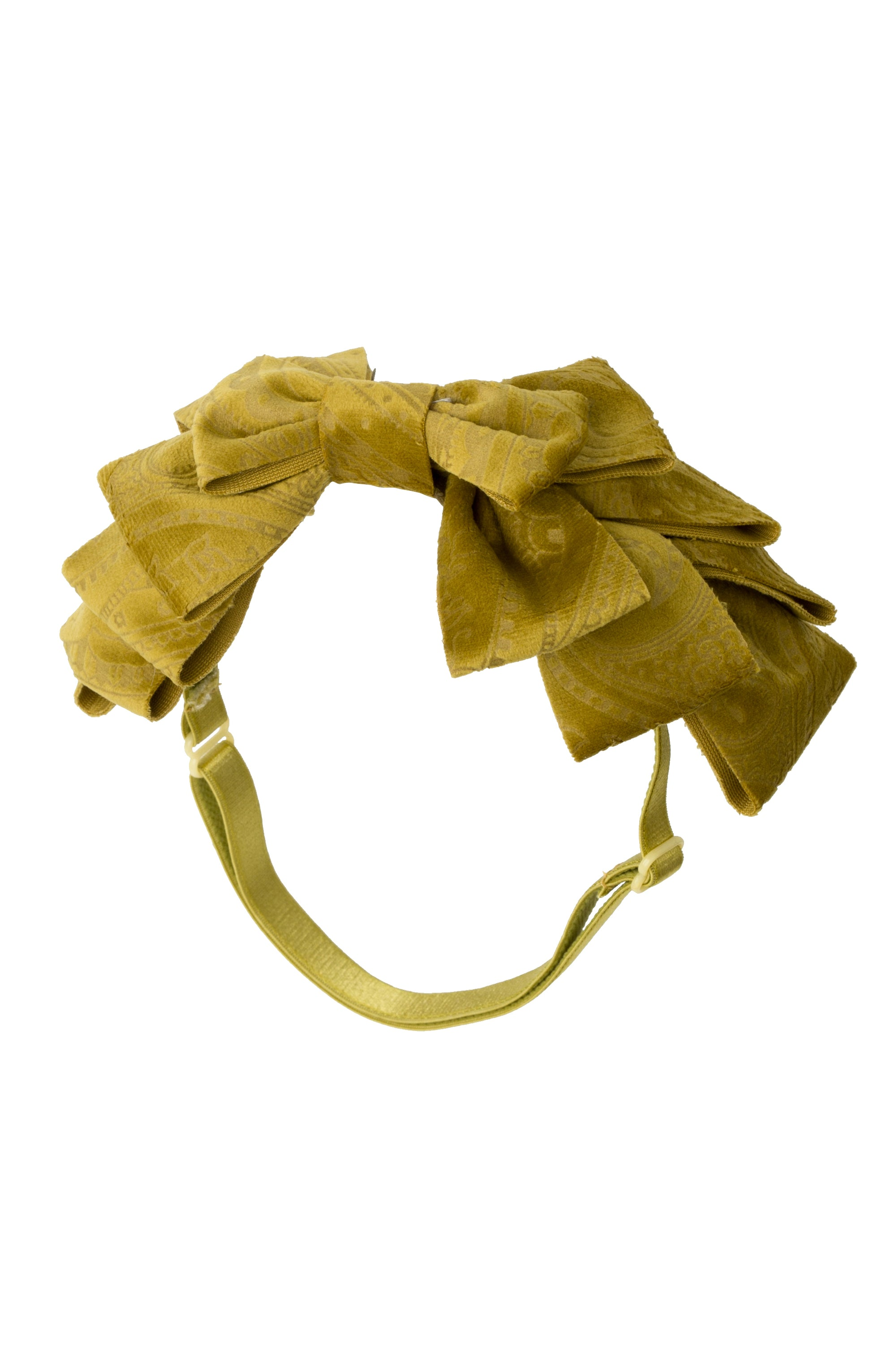 Pleated Ribbon Wrap - Gold Mustard Paisley Suede - PROJECT 6, modest fashion
