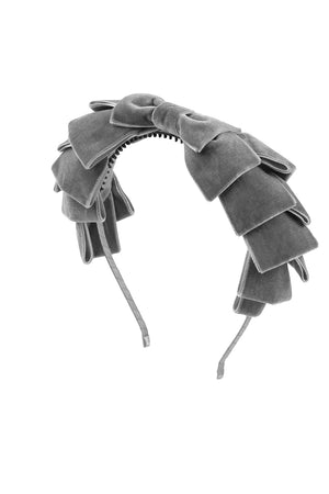 Pleated Ribbon Velvet Headband - Grey