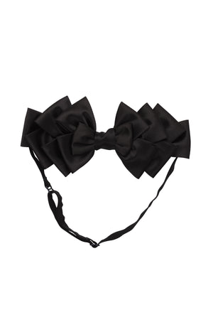 Pleated Ribbon Wrap - Black