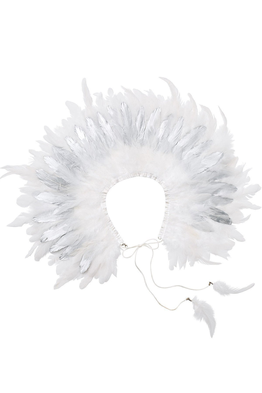 Feather Collar - Silver/White