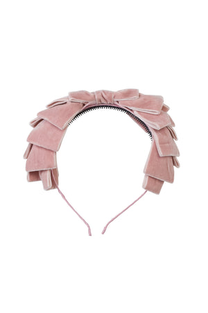Pleated Ribbon Velvet Headband - Blush