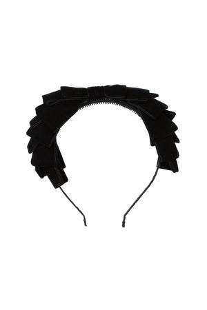 Pleated Ribbon Velvet Headband - Black