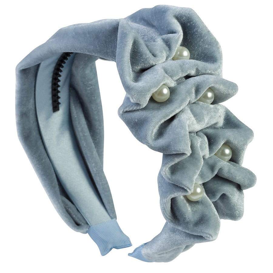 Ruffled Pearl Velvet Headband - Antique Blue