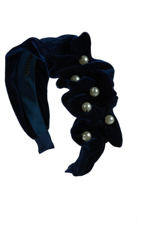 Ruffled Pearl Velvet Headband - Navy
