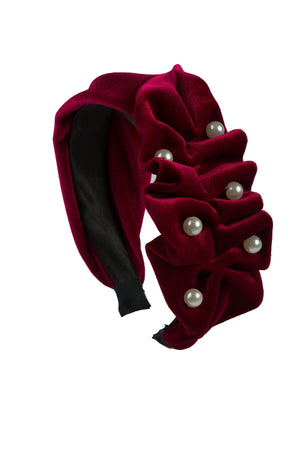 Ruffled Pearl Velvet Headband - Burgundy