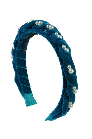 Twisted Pearl Velvet Headband - Turquoise - PROJECT 6, modest fashion