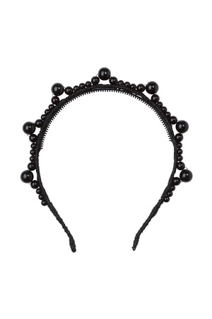 Triple Cluster Pearl Headband - Black/Black Pearls
