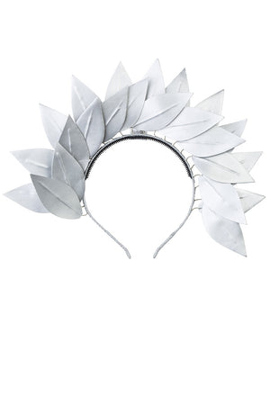 Cascading Floating Leather Leaves - Silver - PROJECT 6, modest fashion