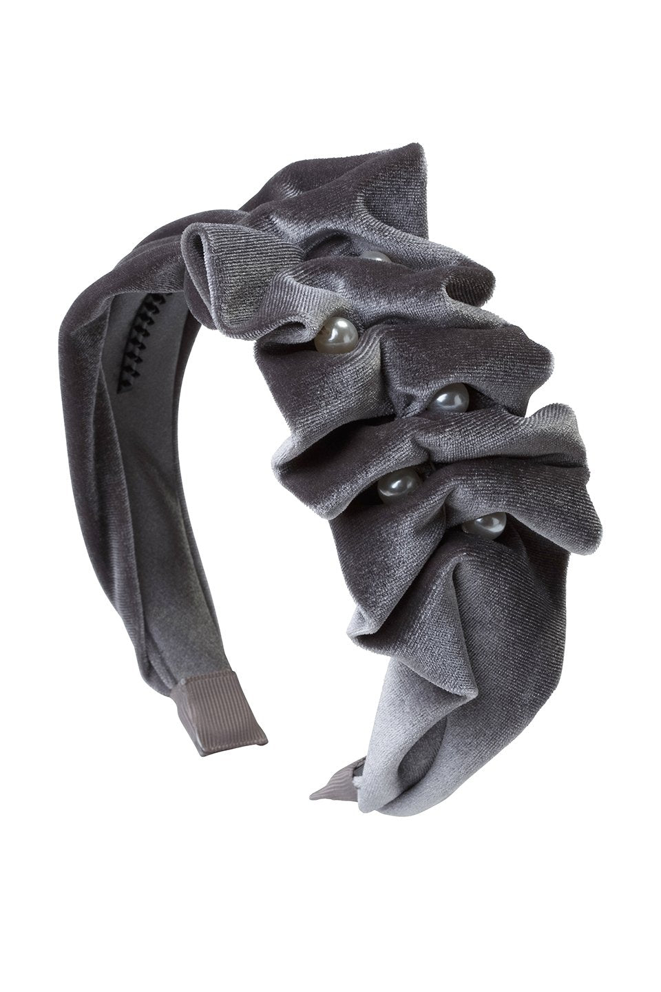 Ruffled Pearl Velvet Headband - Grey - PROJECT 6, modest fashion