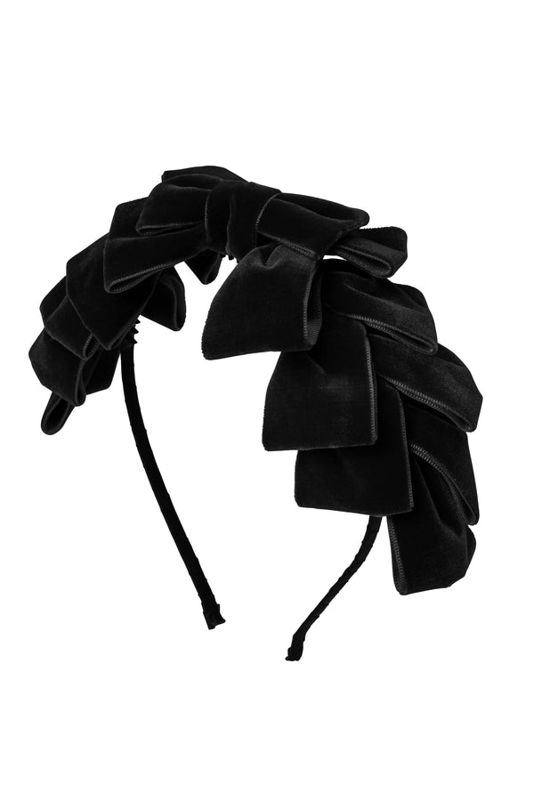 Pleated Ribbon Velvet Headband - Black - PROJECT 6, modest fashion