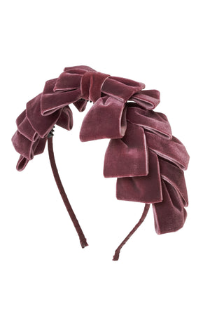 Pleated Ribbon Velvet Headband - Purple