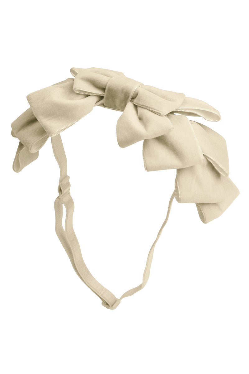 Pleated Ribbon Velvet Wrap - Cream - PROJECT 6, modest fashion