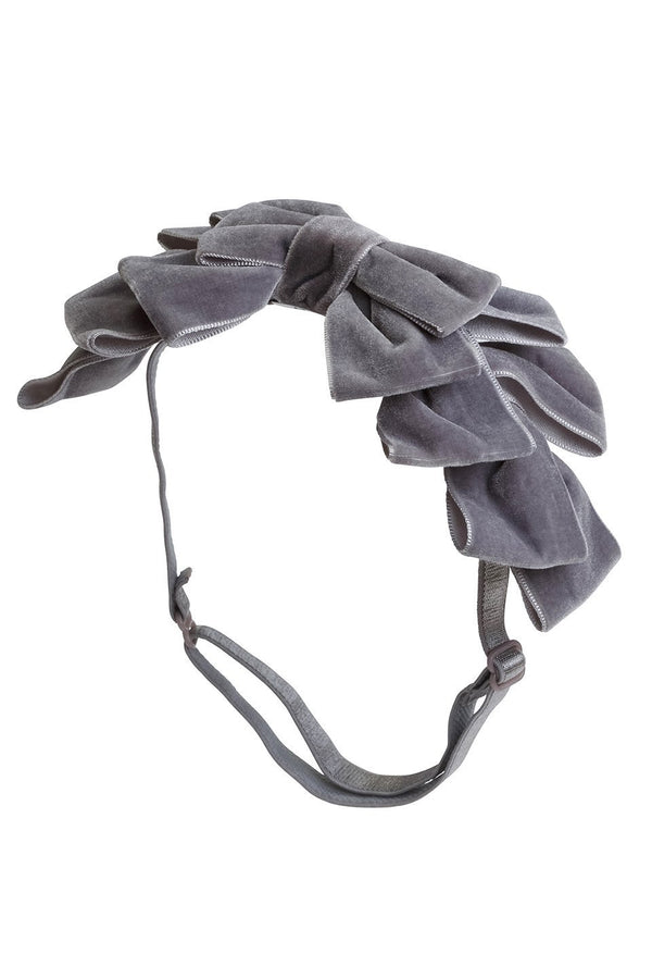 Pleated Ribbon Velvet Wrap - Grey - PROJECT 6, modest fashion