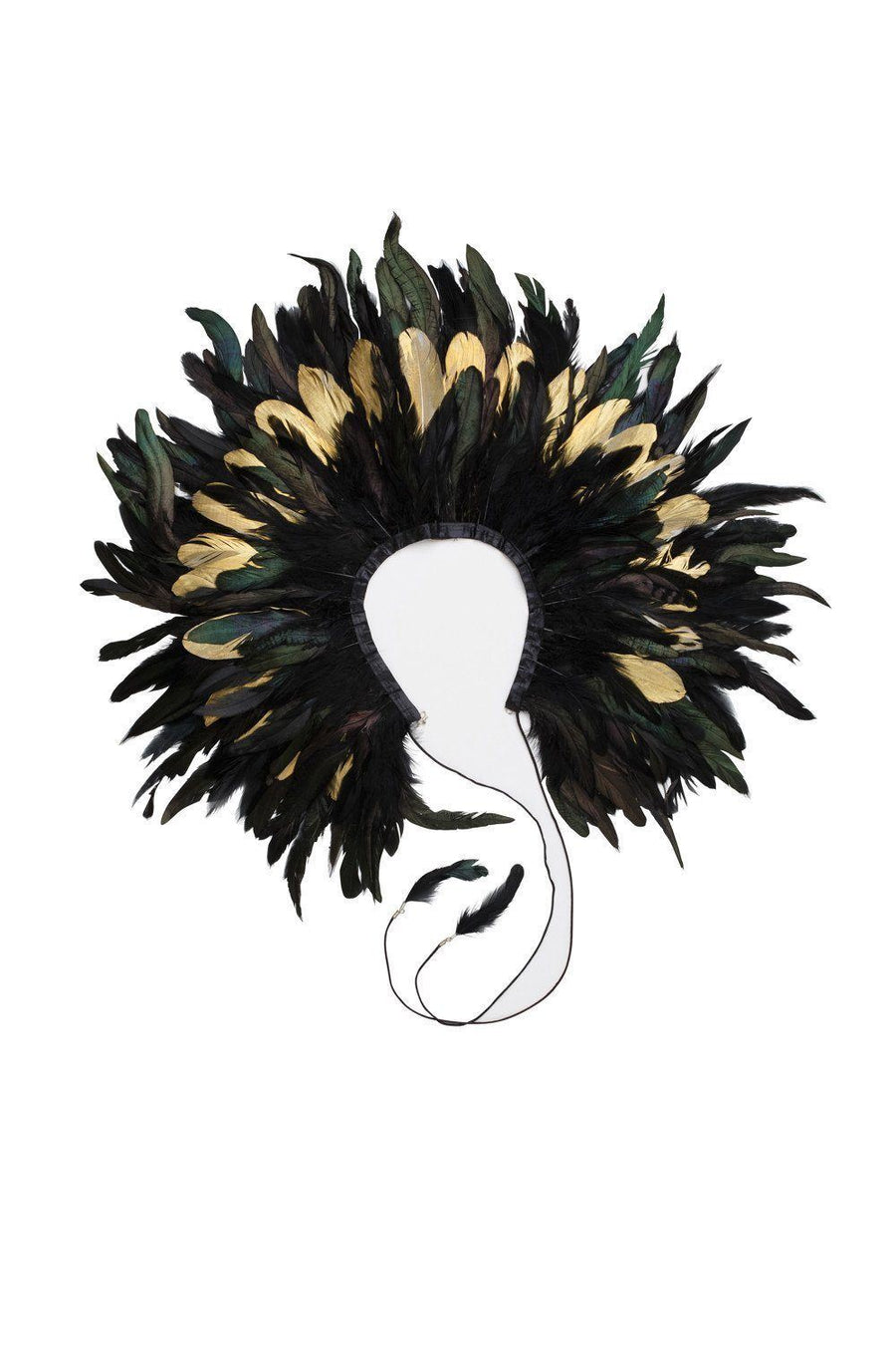 Feather Collar - Black/Gold