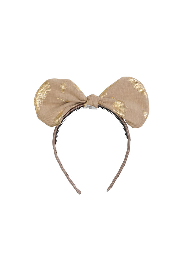Bunnie Bow Headband - Tan/Gold Feather Print - PROJECT 6, modest fashion