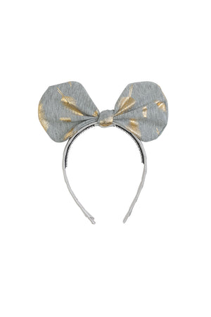 Bunnie Bow Headband - Heather Grey/Gold Feather Print - PROJECT 6, modest fashion