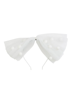 1940's Bow Headband - White/White - PROJECT 6, modest fashion