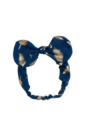 Bunnie Bow Wrap - Navy/Gold Feather Print - PROJECT 6, modest fashion